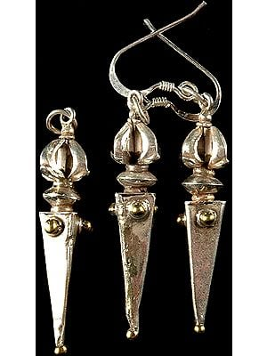Sterling Phurpa Pendant with Matching Earrings Set
