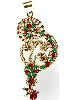 Stylized Paisley Polki Pendant with Faux Ruby-Emeralds