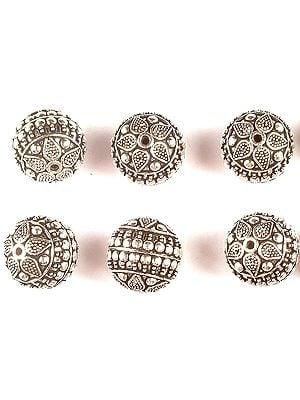 Superfine Floral Round Beads (Price Per Piece)