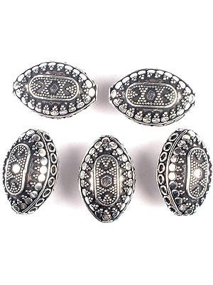 Superfine Pointed Oval Beads with Granulation, Circles and Rings (Price Per Piece)