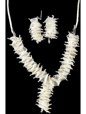 Superfine Weave Net Necklace with Earrings Set