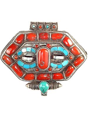 Tibetan Gau Box Pendant with Coral and Turquoise