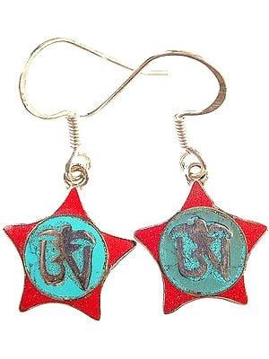 Tibetan Om (AUM) Inlay Earrings