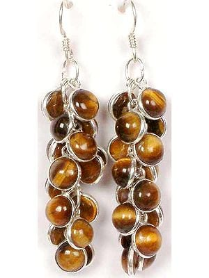 Tiger Eye Bunch Earrings