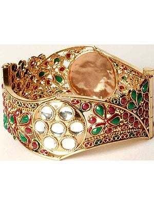 Tri-Color Polki Bangle with Faux Kundan