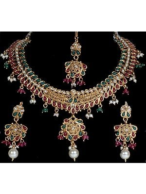 Tri-Color Polki Choker and Earrings Set with Forehead Tika and Faux Pearls