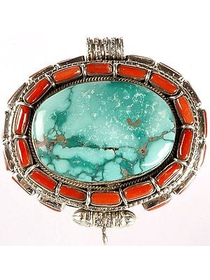 Turquoise Gau Box Pendant with Coral