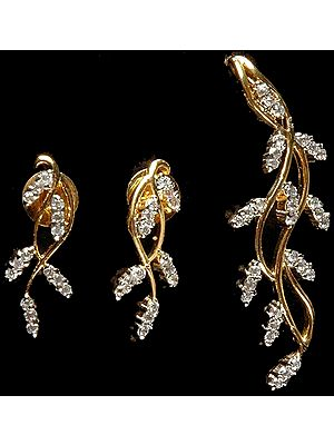 Vegetative Pendant with Matching Earrings