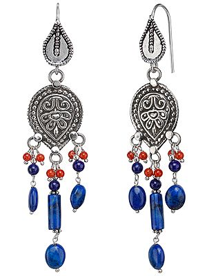 Turquoise, Coral and Lapis Earrings