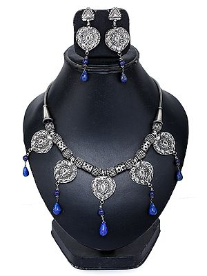 Lapis Lazuli Ethnic Necklace with Earrings Set