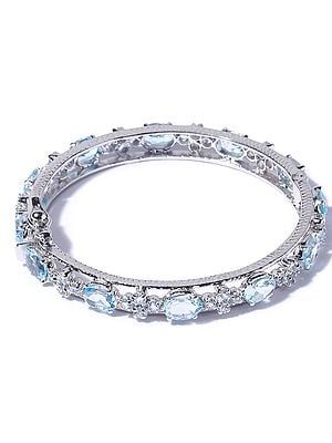 Faceted Blue Topaz Bracelet with Cubic Zirconia