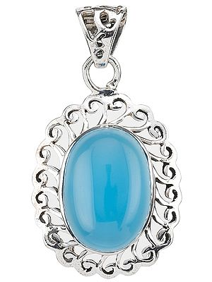 Blue Chalcedony Pendant with Lattice
