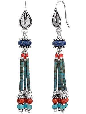 Lapis Lazuli, Turquoise & Coral Beaded Earrings