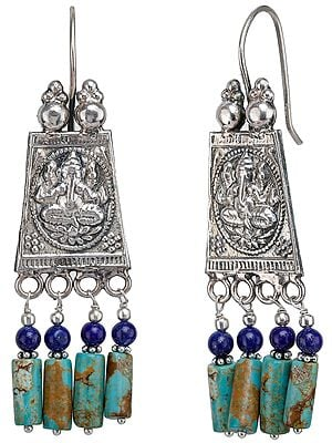 Ganesha Turquoise and Lapis Lazuli Earrings