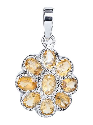 Faceted Citrine Flower Pendant
