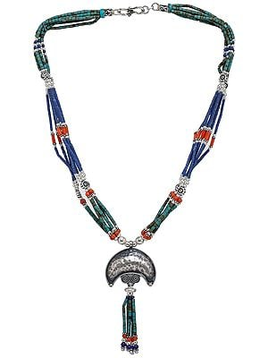 Turquoise, Coral and  Lapis Lazuli Beaded Necklace