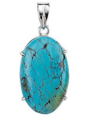 Spider's Web Turquoise Oval Pendant