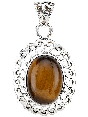 Tiger Eye Pendant with Lattice Bale