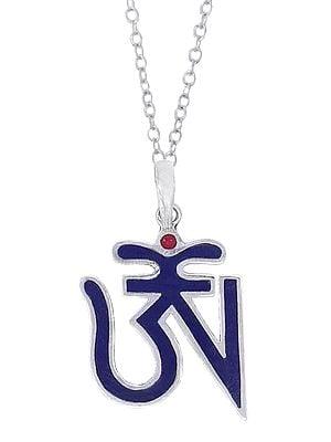 Small Blue Tibetan Om (AUM) Inlay Pendant from Nepal
