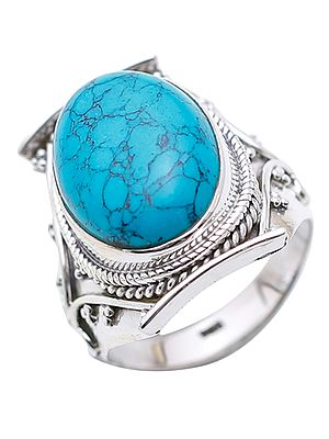 Reconstituted Turquoise Oval Ring