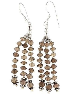 Faceted Smoky Quartz Shower Earrings - Sterling Silver