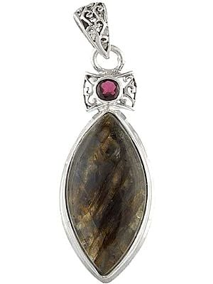 Labradorite and Garnet Pendant - Sterling Silver