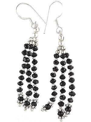 Faceted Black Onyx Earrings - Sterling Silver