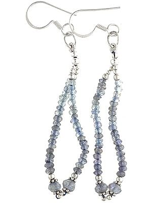 Faceted Iolite Earrings - Sterling Silver