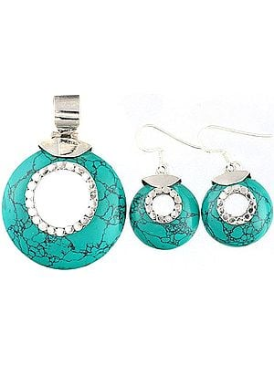Spider's Web Faux Turquoise Pendant with Matching Earrings Set - Sterling Silver
