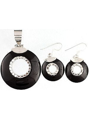 Black Onyx Pendant with Matching Earrings Set - Sterling Silver