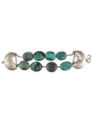 Spider's Web Tibetan Turquoise Bracelet - Sterling Silver