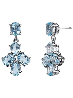Fine Faceted Blue Topaz Earrings