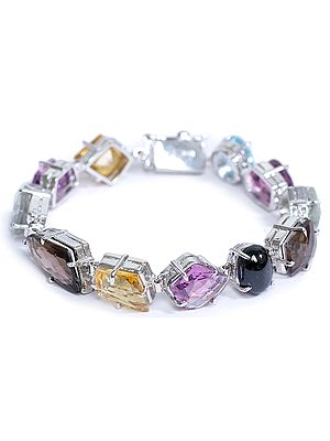 Multi-color Gemstone Bracelet with Charm (Blue Topaz, Amethyst, Green Amethyst, Smoky Quartz, Black Spinel, Lemon Topaz, Citrine)