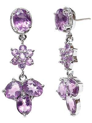 Faceted Amethyst Dangle Earrings