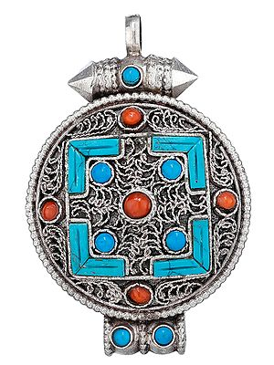 Tibetan Filigree Gau Box Pendant with Coral and Turquoise