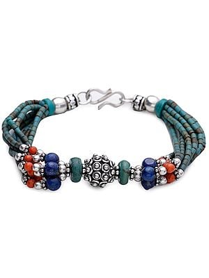 Coral, Turquoise and Lapis Lazuli Bracelet
