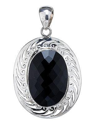 Faceted Black Onyx Pendant with Lattice