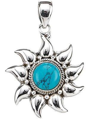 Reconstituted Turquoise Sun Pendant