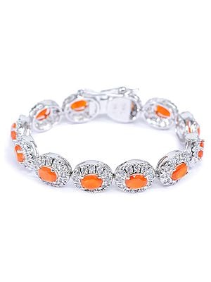 Faceted Carnelian Bracelet with Cubic Zirconia
