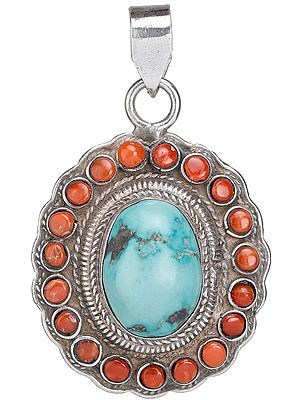 Coral and Turquoise Pendant