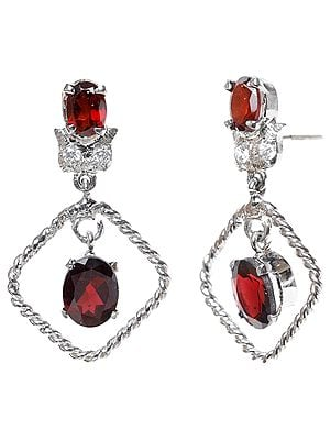 Faceted Garnet Earrings with Cubic Zirconia