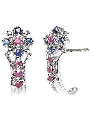 Ruby and Blue Sapphire Earrings