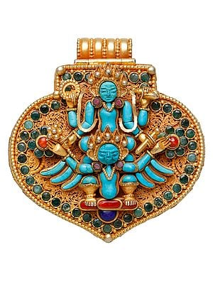 Shri Narayana Vishnu on Garuda with Lord Ganesha Inside (Nepalese Handcrafted Gau Box Pendant)