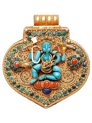 Lord Ganesha Gau Box Pendant with Green Tara Inside  (Coral, Lapis Lazuli, Emerald Work)