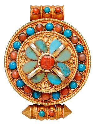 Gau Box Pendant (Coral and Turquoise)