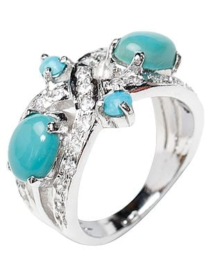 Turquoise Ring with Cubic Zirconia