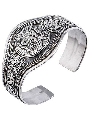 Tibetan Lotus with Filigree Cuff  Bracelet (Adjustable Size)