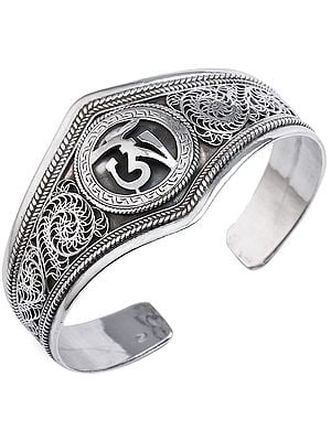 Tibetan Om with Filigree Cuff  Bracelet (Adjustable Size)