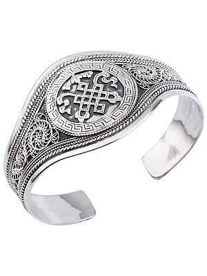 Endless-Knot (Ashtamangala) Cuff Bracelet (Adjustable Size)