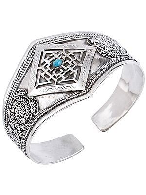 Mandala with Turquoise and Filigree Cuff  Bracelet (Adjustable Size)